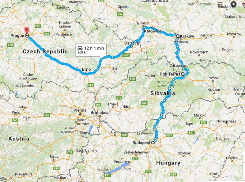 My Central Europe Tour Route with JayWay Travel