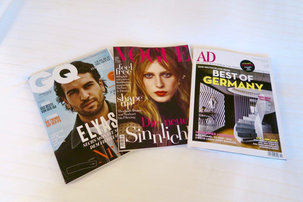 in-room magazine selection at the Charles Hotel Munich