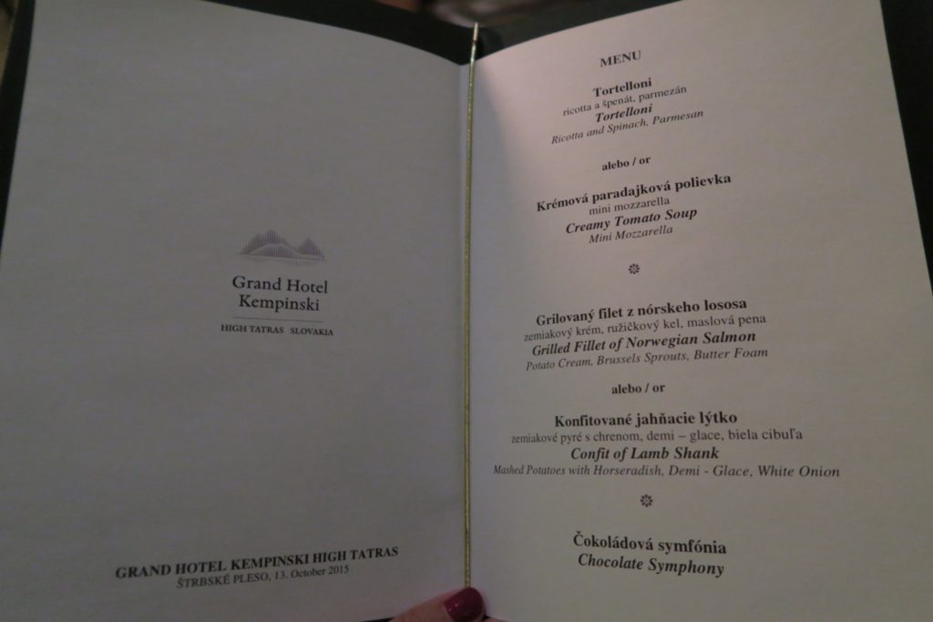 Menu of the Grand Restaurant, Kempinski High Tatras