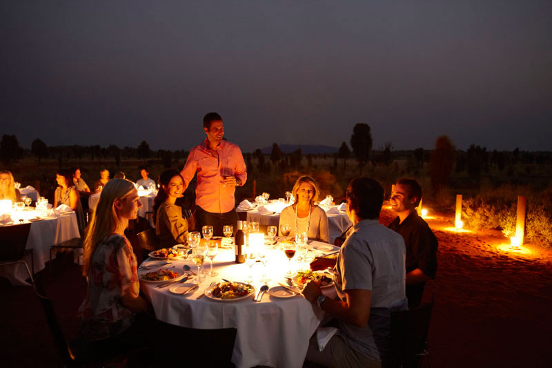 northern territory dining under the stars in front of uluru