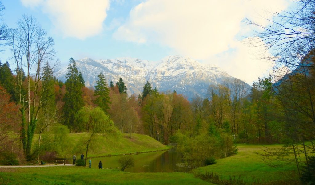 Scenery near the grounds of Linderhof Palace. Bavarian Alps in the background