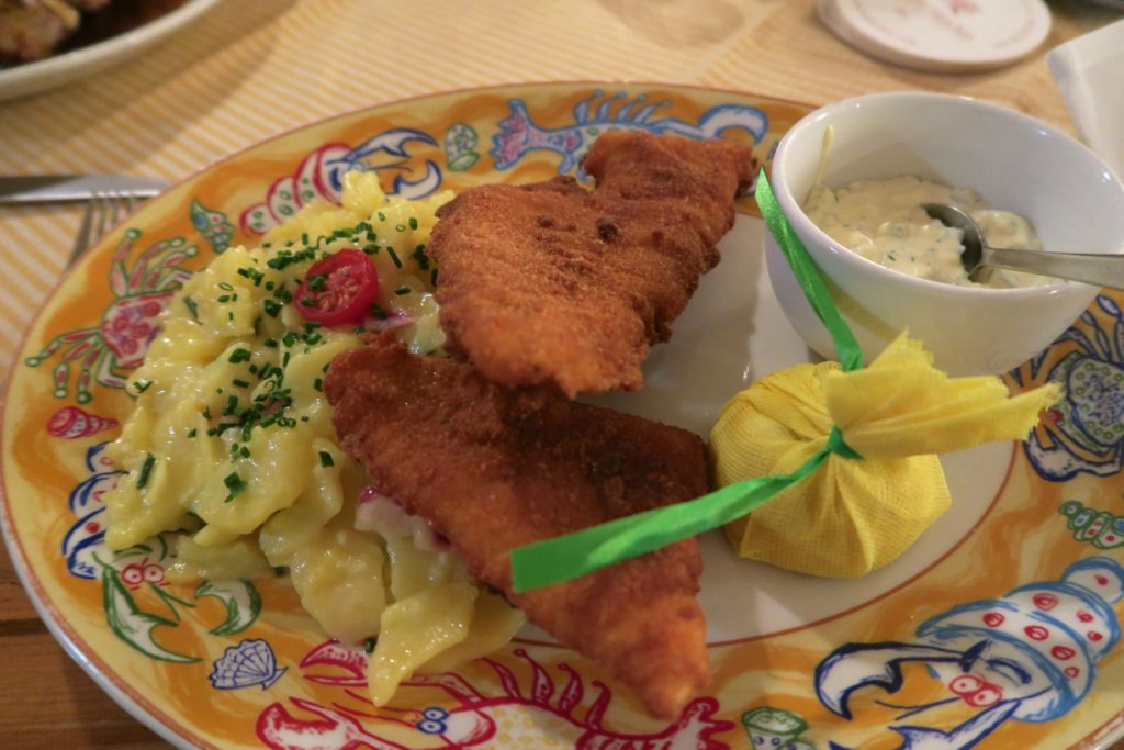 Breaded fish fillet at Ratskeller Munich