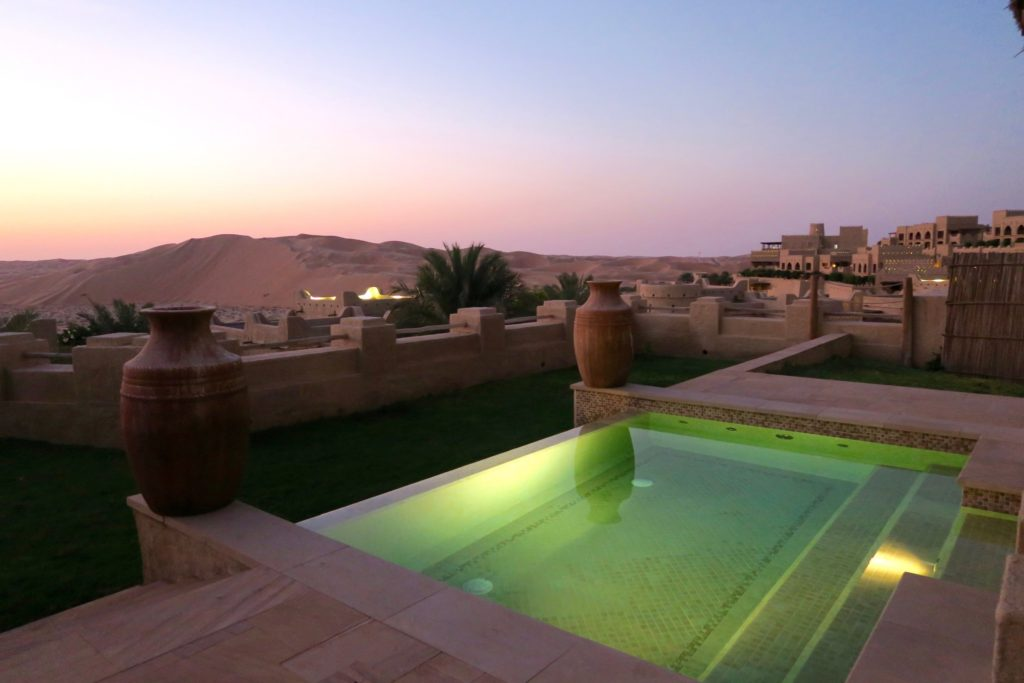 Shortly after sunset, One bedroom villa with private pool at Qasr al Sarab by Anantara