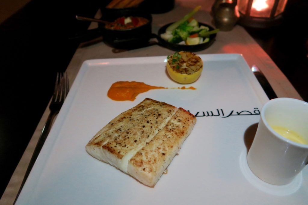 Atlantic Halibut fillet. Suhail Restaurant at Qasr al Sarab by Anantara