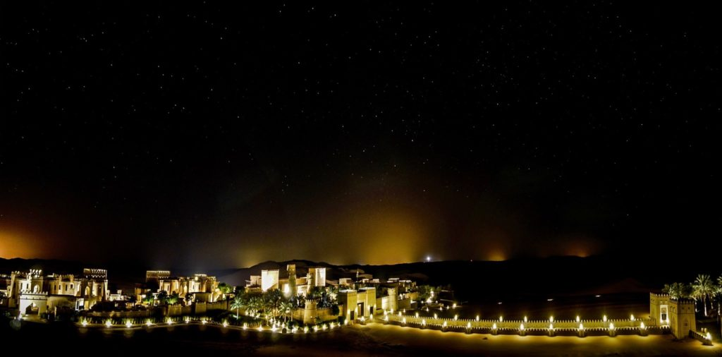Qasr al Sarab Desert Resort by Anantara at night