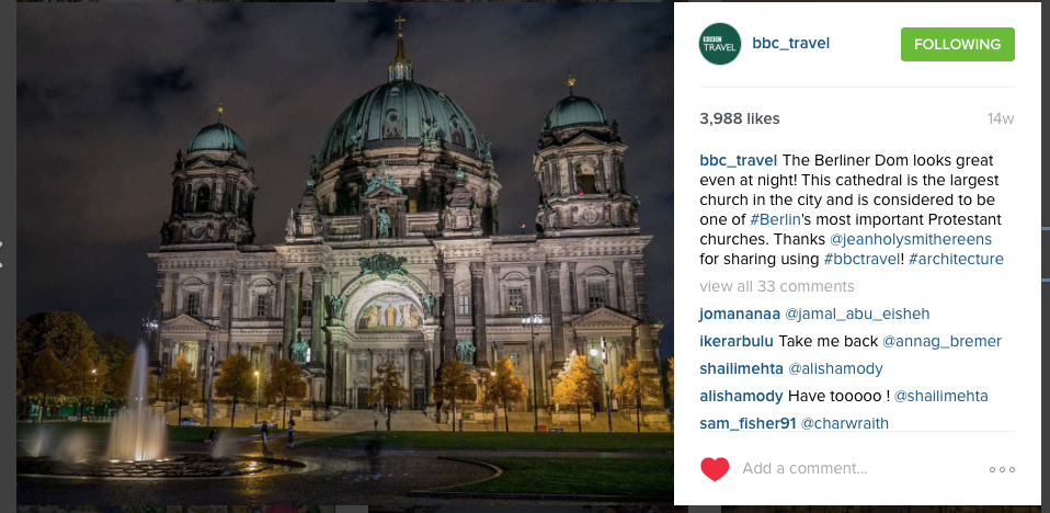 Our photo of Berliner Dom featured in BBC Travel's Instagram :)