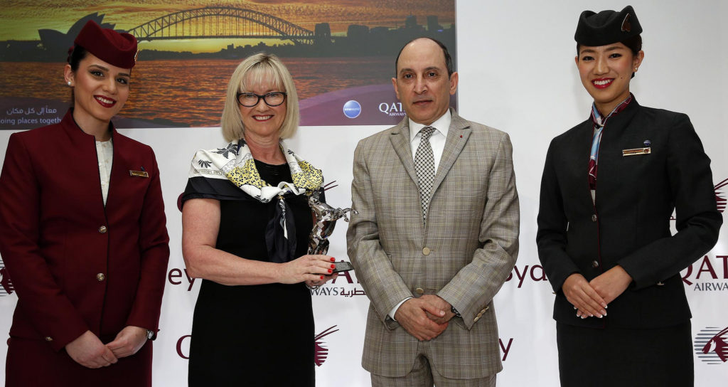 Managing Director and CEO of Sydney Airport Ms Kerrie Mather with Qatar Airways CEO His Excellency Mr Akbar Al Baker