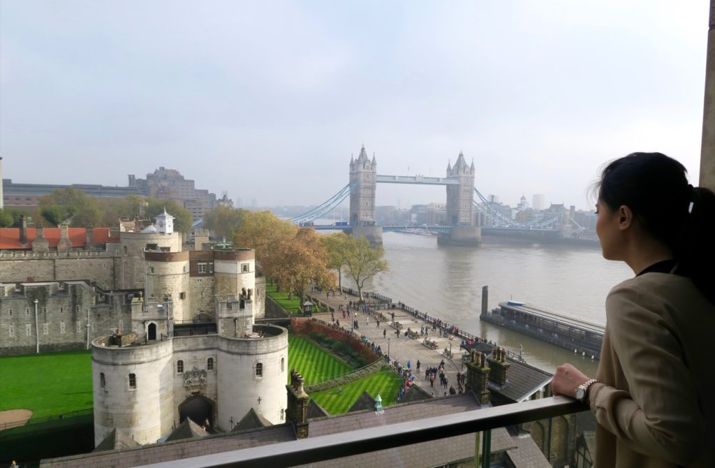 The Tower of London and the Tower Bridge. View from Cheval Three Quays