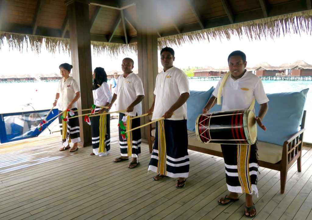 Staff welcoming guests to Anantara Veli Maldives