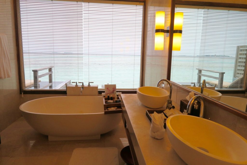 Bathroom. Deluxe Overwater Pool Bungalow at Anantara Veli Maldives
