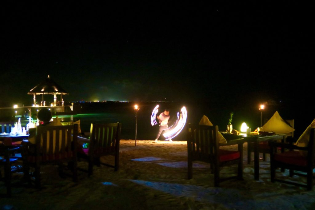 Flame dancers at MU Beach Bar & Grill, Jumeirah Vittaveli Maldives