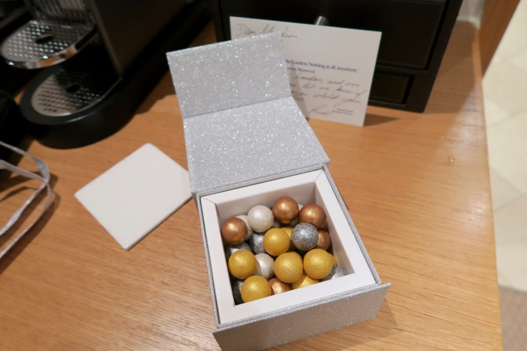Welcome Amenity Chocolates. Jumeirah Carlton Tower