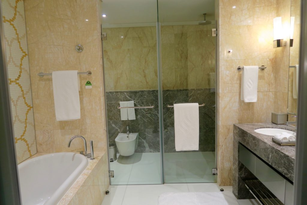 Bathroom of a Deluxe King bedroom. Jumeirah at Etihad Towers