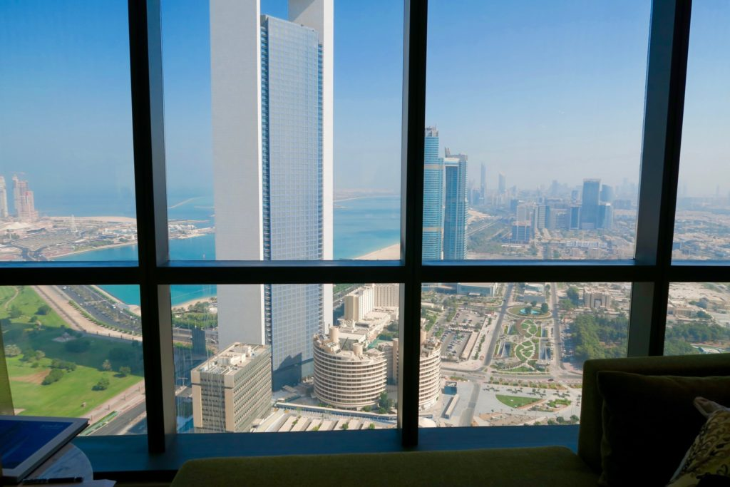 Views of Abu Dhabi from the Deluxe King Room, 42nd floor. Jumeirah at Etihad Towers