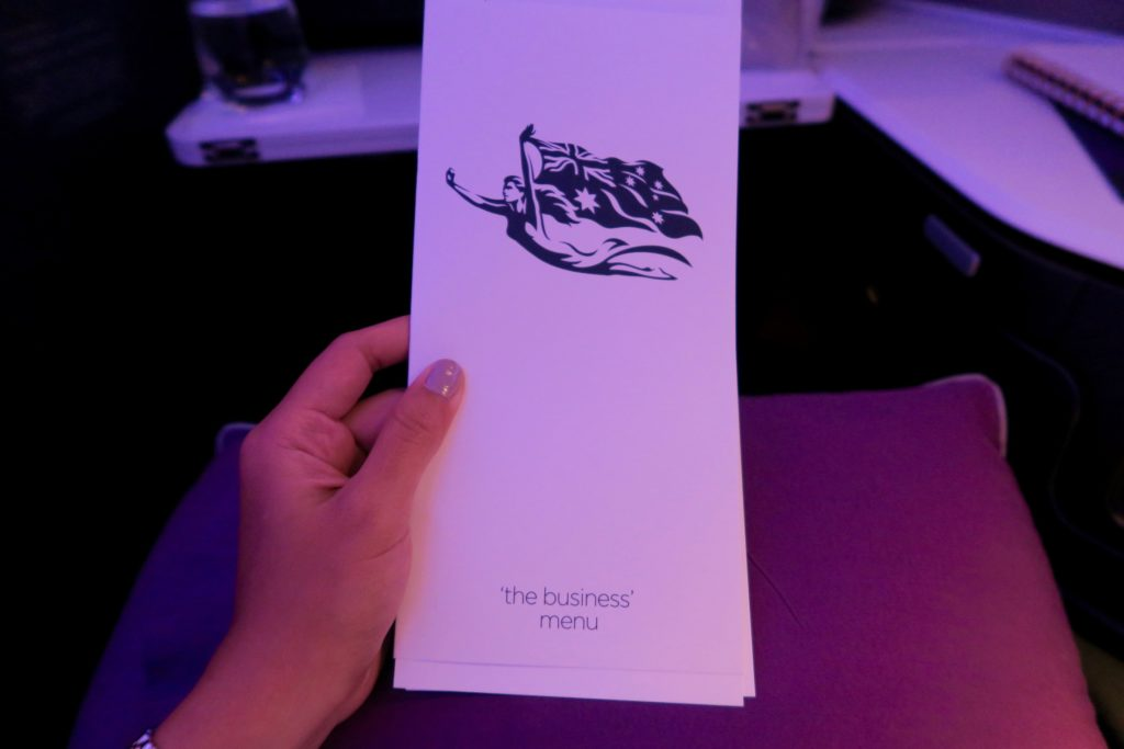 Virgin Australia Business Class Menu VA 2 Los Angeles to Sydney