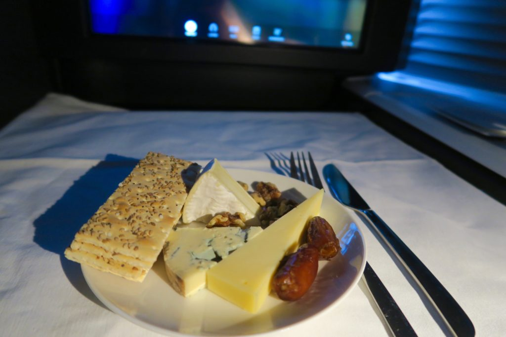 Cheese platter for dessert. Virgin Australia Business Class VA 2 Los Angeles to Sydney