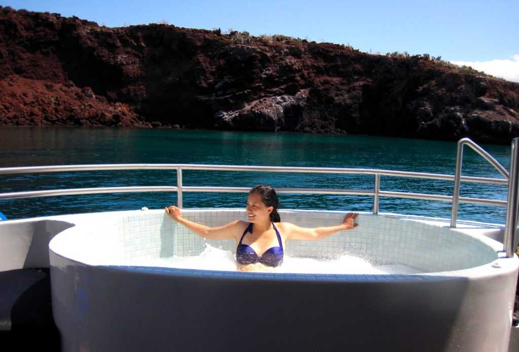 Jacuzzi on the main deck of MV Origin