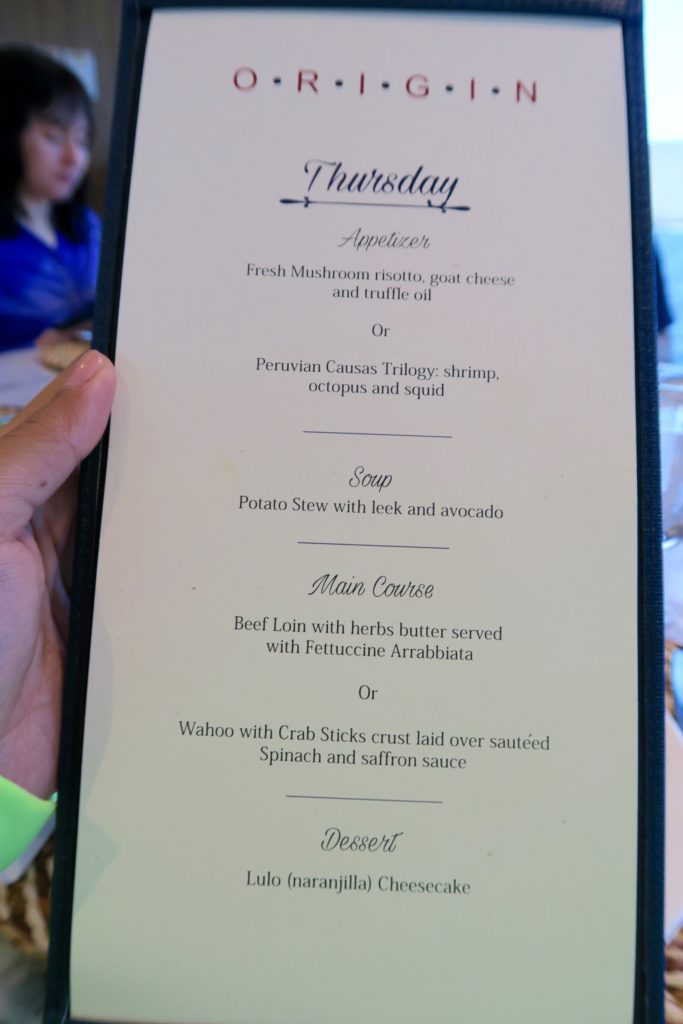 Dinner Menu - MV Origin