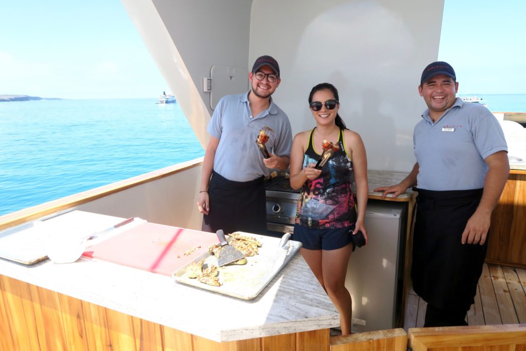 Lobster lunch - Sundeck of Ecoventura's MV Origin