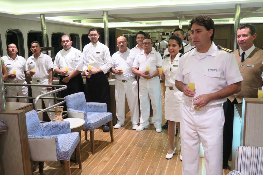 The staff and crew of Ecoventura's MV Origin