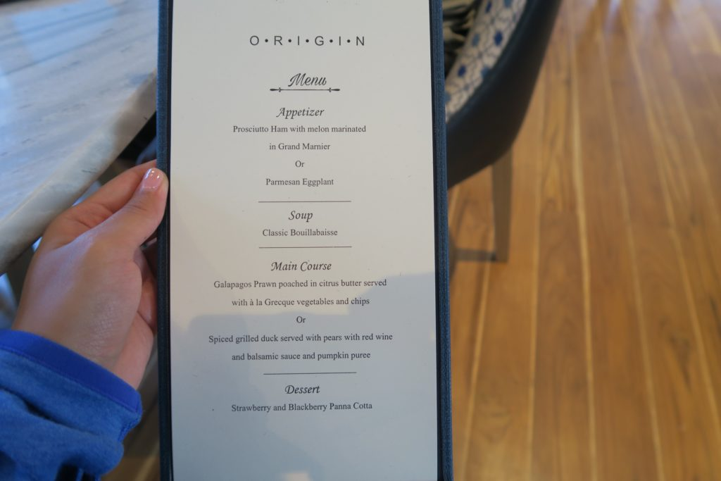 Dinner Menu onboard Ecoventura's MV Origin