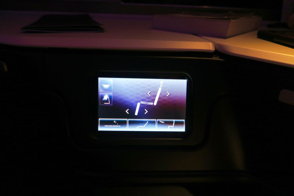 Touch screen seat and light controls. Virgin Australia Business Class Suites B777-300 Los Angeles to Sydney