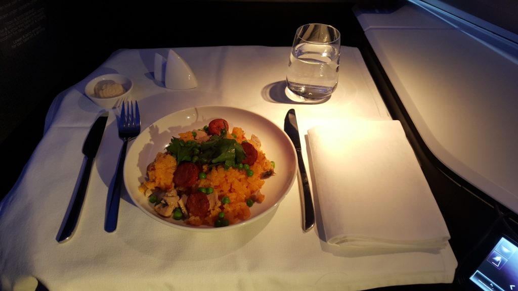 Main course dinner, Virgin Australia Business Class VA 2 B777-300