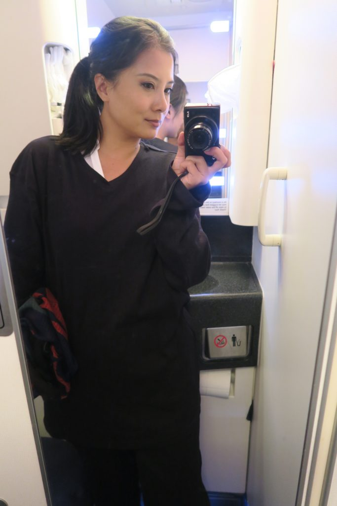 Virgin Australia pajamas on Business Class