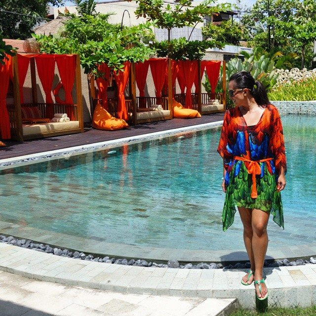 Wearing the Fire Kaftan by I-Allure in Bali