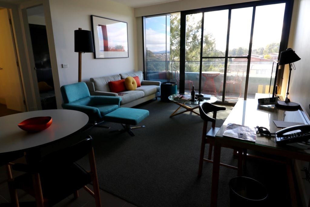 Living area of One Bedroom Luxe Apartment of East Hotel Canberra
