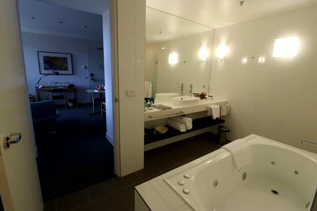 Bathroom of a One Bedroom Luxe Apartment at East Hotel Canberra