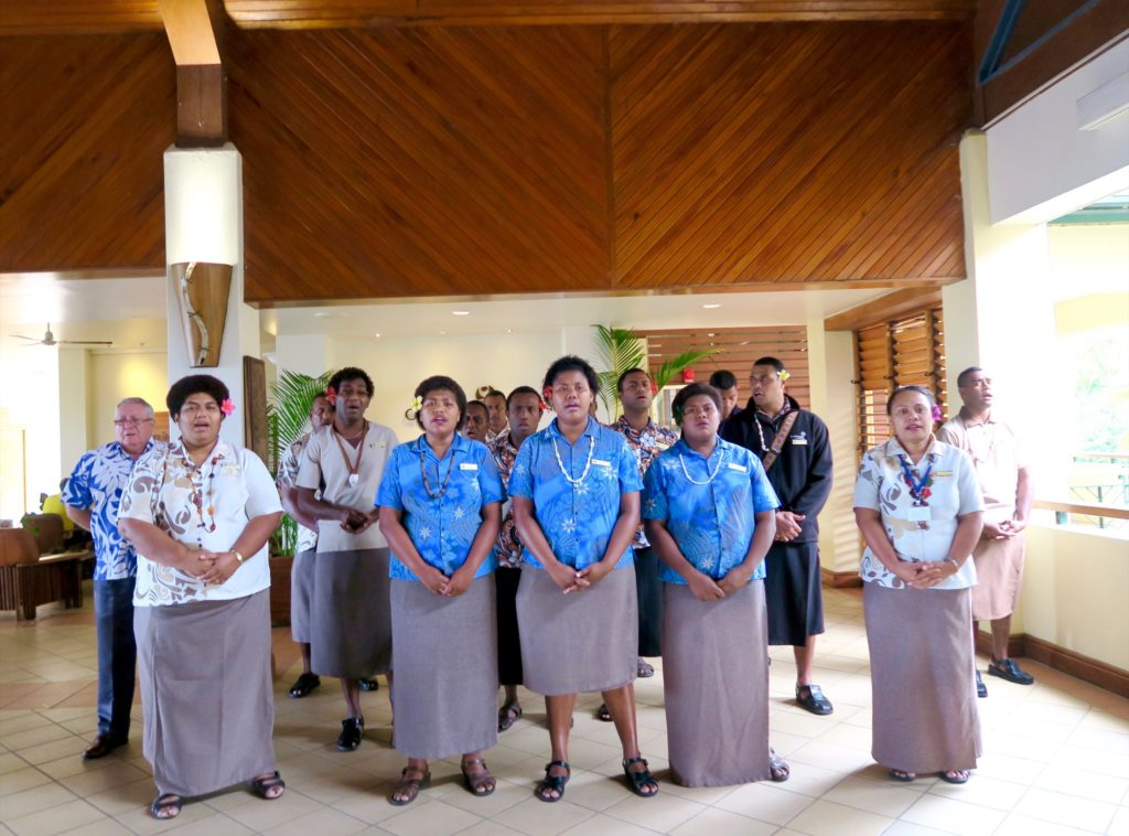 "The staff of Outrigger Fiji Resort singing ""Isa Lei"""
