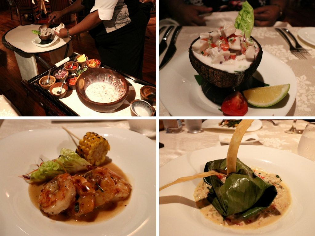 Clockwise L-R: Preparation of Fijian Ika Kokoda, The Fijian Ika Kokoda, Deep Sea Snapper wrapped in Banana Leaves with Shelled Mud Crabs, and BBQ King Prawns
