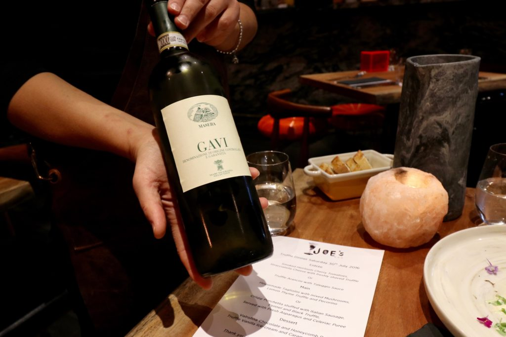 Wine Pairing Truffle Night at Joe's Bar Canberra