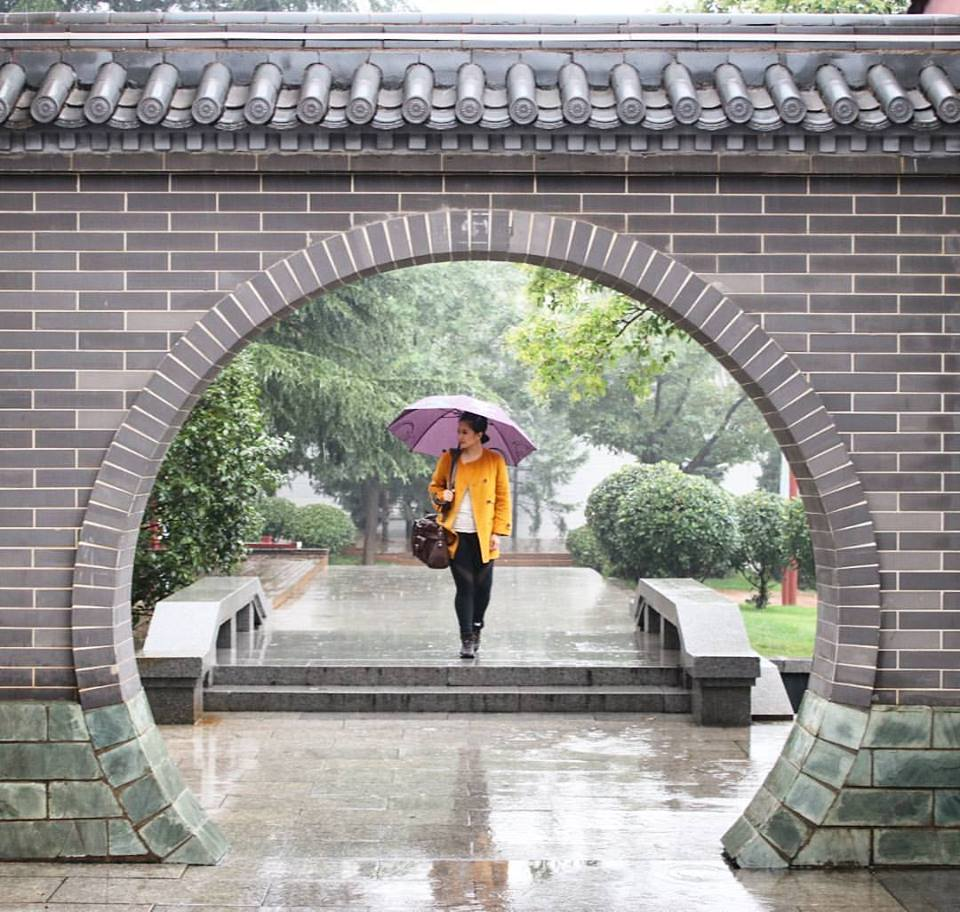 a rainy day at the Wild Goose Pagoda in Xian