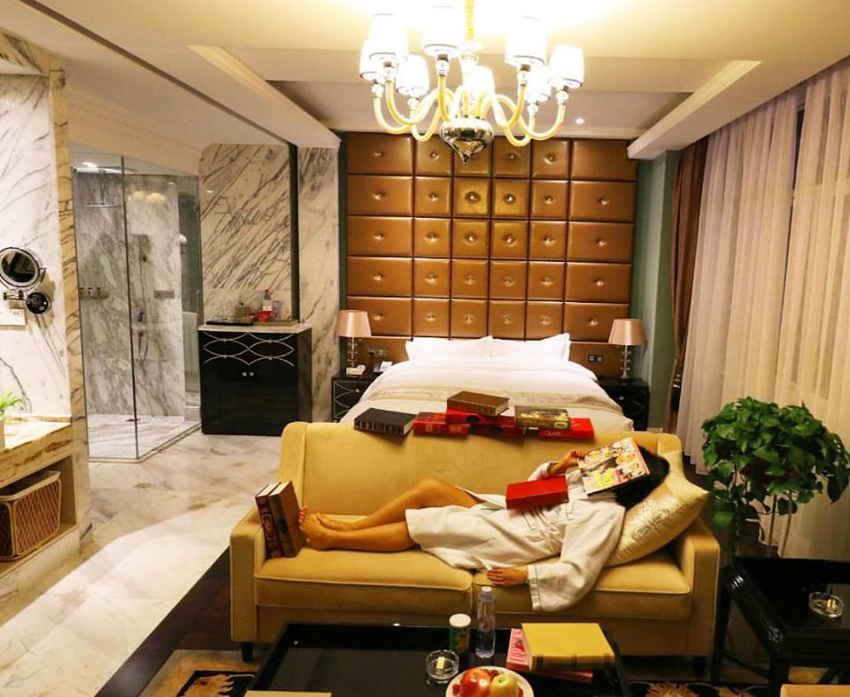 relaxing at the Nine Dynasty Hotel after a long road trip in Shaanxi