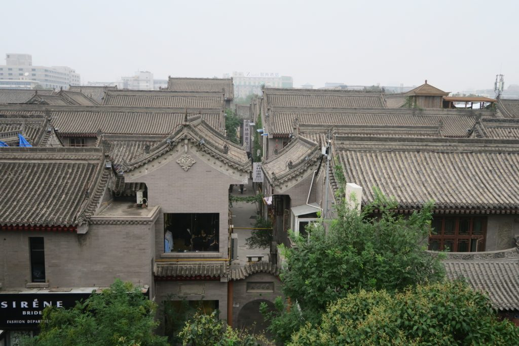 Viewing the rooftops and alleyways of Xian while cycling