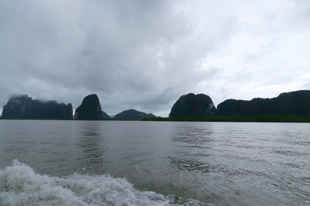 cruising Phang Nga Bay on a rainy day