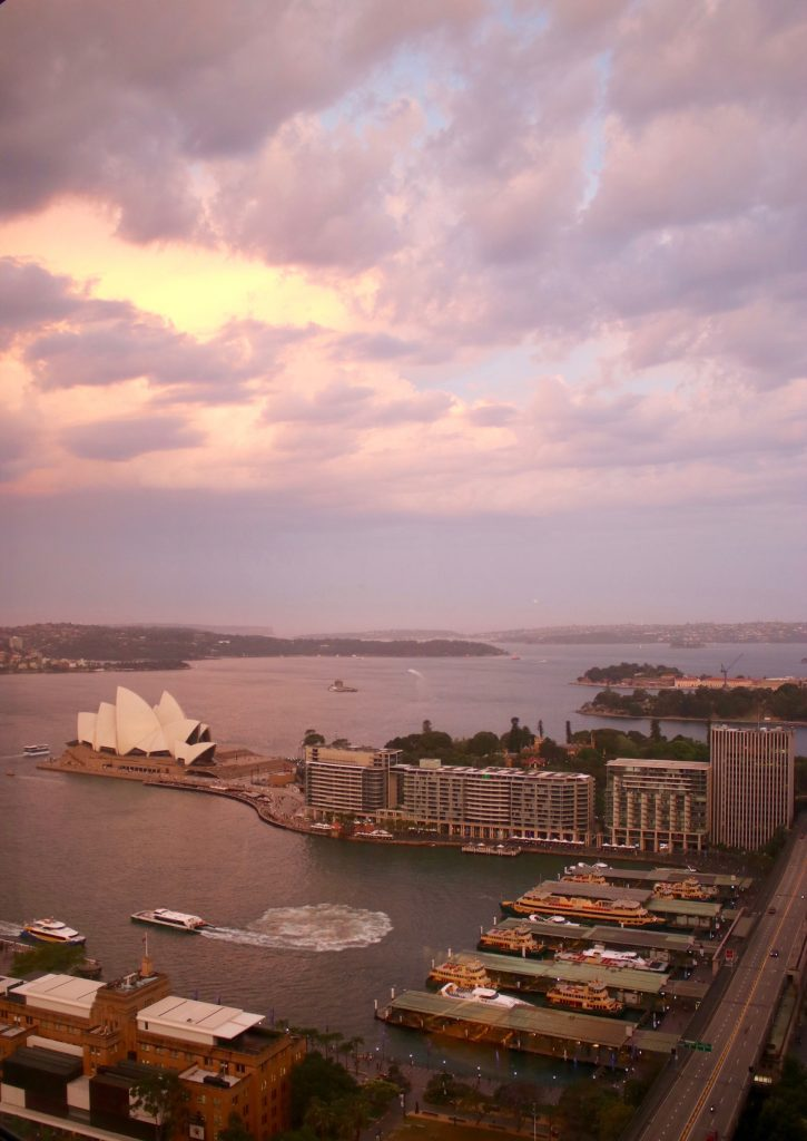 Sydney sunset from the Horizon Club Opera City View Room. Shangri-la Hotel Sydney