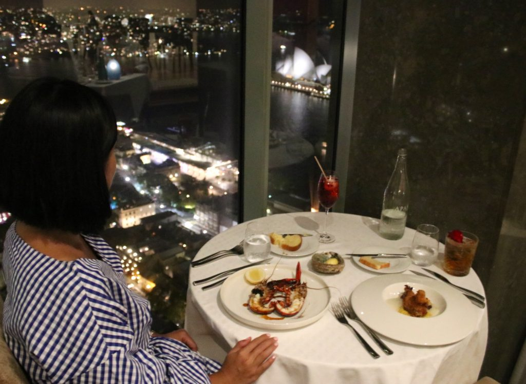 Dinner with a view at Altitude Restaurant on the 36th Level. Shangri-la Hotel Sydney