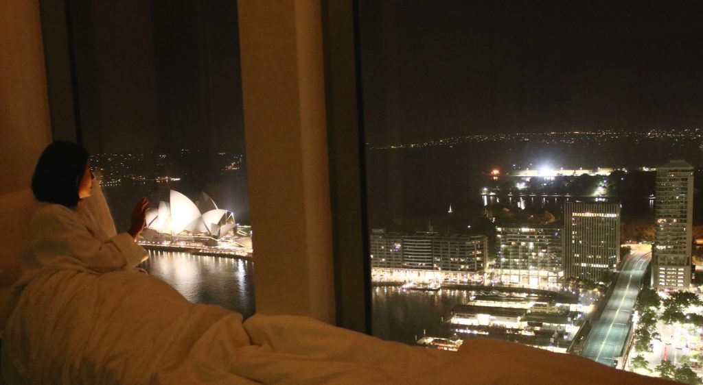 "Couldn't help but ""camp"" next to my window one evening. Horizon Club Opera City View at the Shangri-la Hotel Sydney"