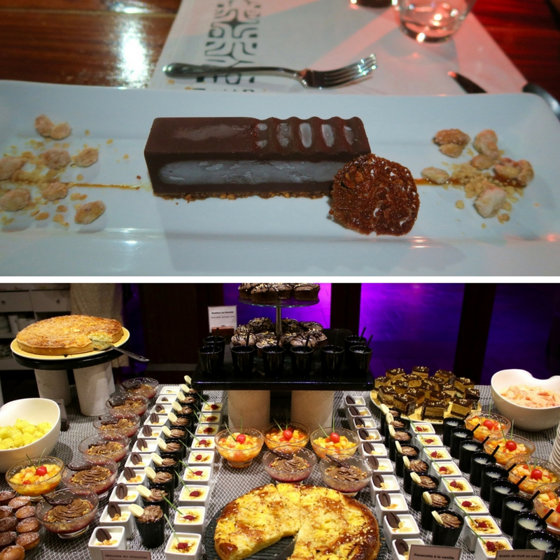 Impressive desserts in Tahiti. Top: Snickers Ice Cream Bar from Le Mayflower in Moorea. Bottom: Just a section of the dessert buffet at the Sofitel Ia Ora Moorea