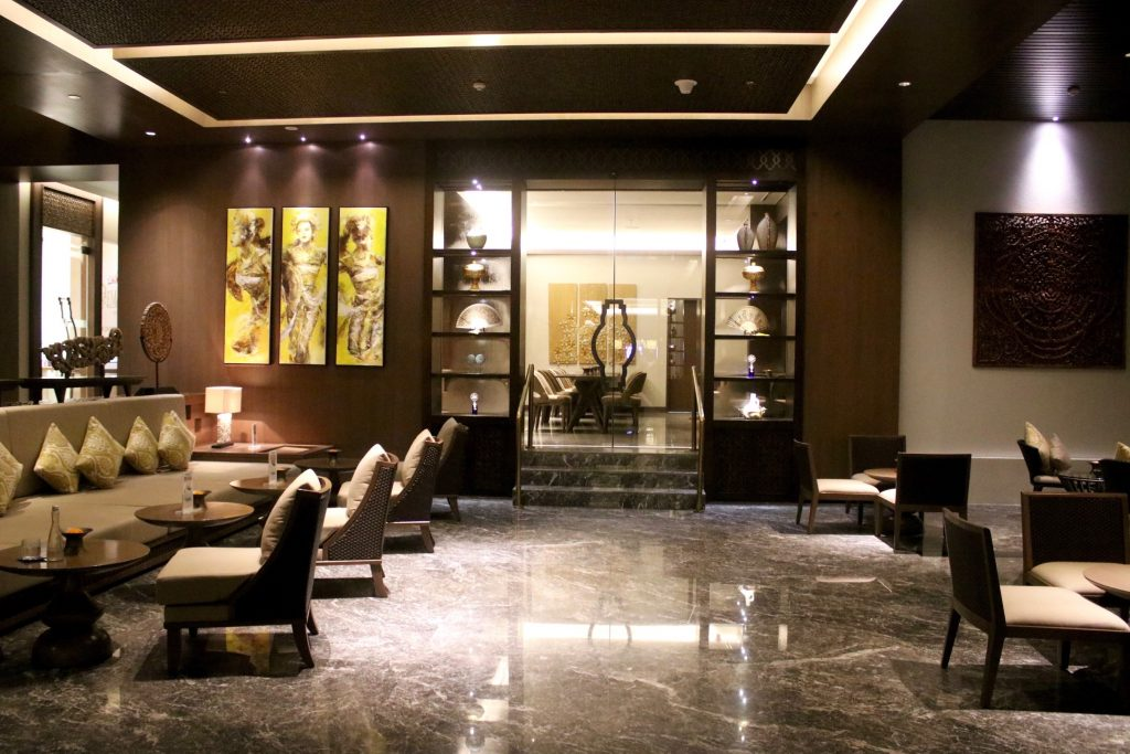 The ANVAYA Bali's 'smart lobby' has an area specifically for early check-ins and late check-outs