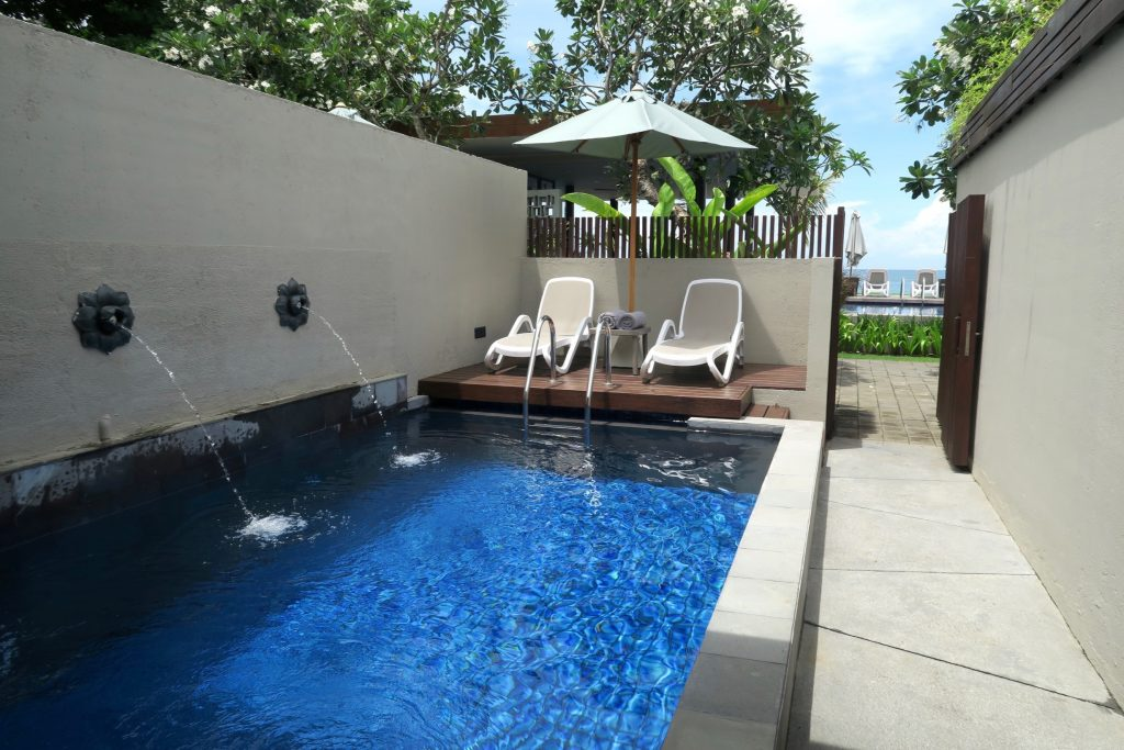 Private pool of the Beach Front Private Suites at ANVAYA Bali