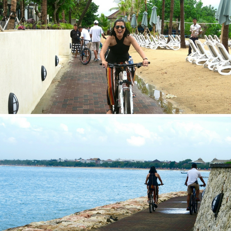Cycling along Kuta beach
