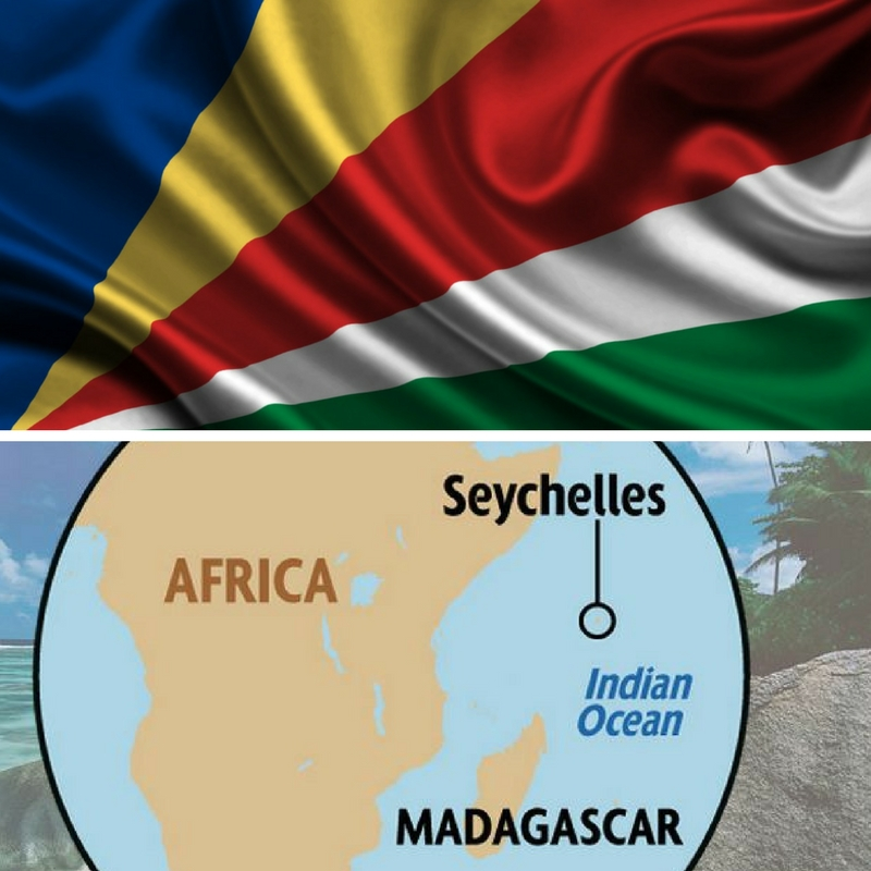 Seychelles flag and map