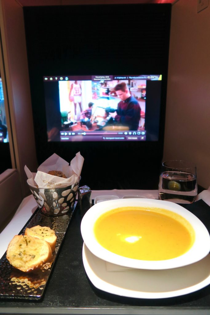 Carrot & Coriander Soup from Etihad Airways' All-Day Menu EY 455 Sydney to Abu Dhabi Business Class A380