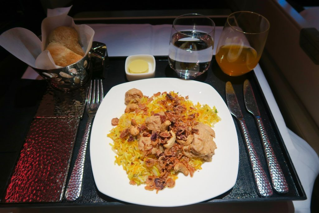 Authentic Gulf chicken biryani tender chicken cooked with spices and basmati rice from Etihad Airways Menu EY 455 Sydney to Abu Dhabi Business Class A380