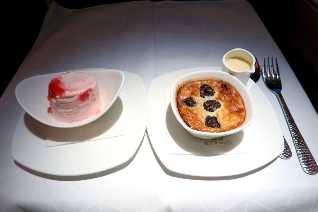 Cherry Clafoutis and Strawberry Ice Cream from Etihad Airways' Menu Business Class Sydney to Abu Dhabi A380