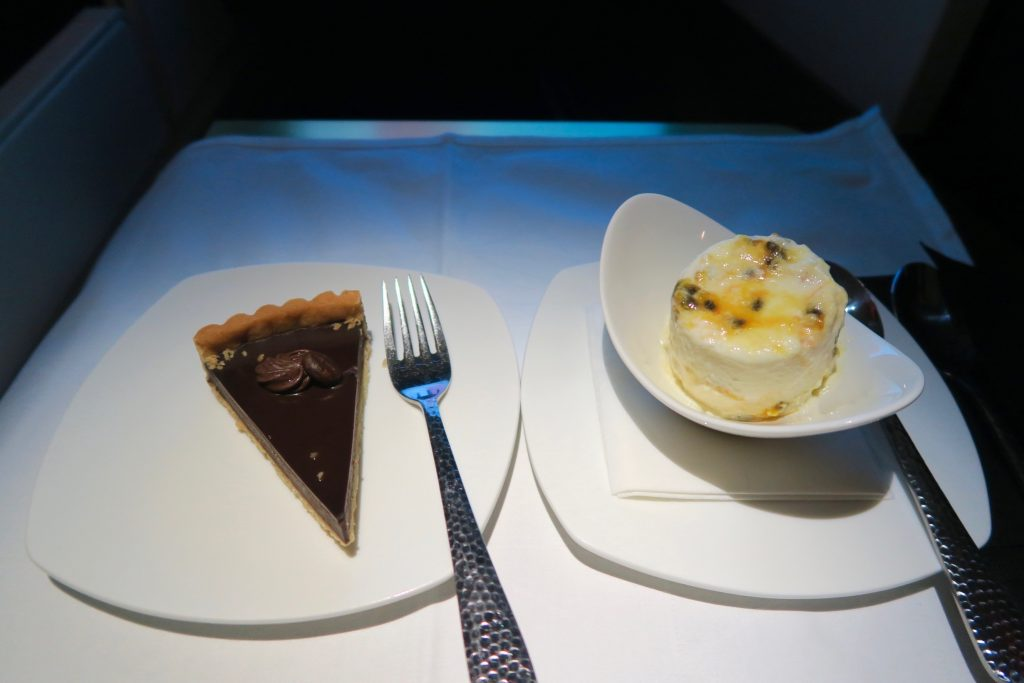 Chocolate Tart and Passionfruit Ice Cream from Etihad Airways' Menu Business Class Sydney to Abu Dhabi A380